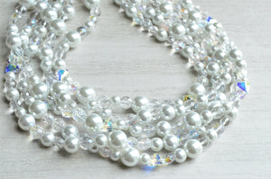 Clear White Pearl Statement Necklace Heart Crystal Beaded Necklace Bridal Jewelry - Melissa
