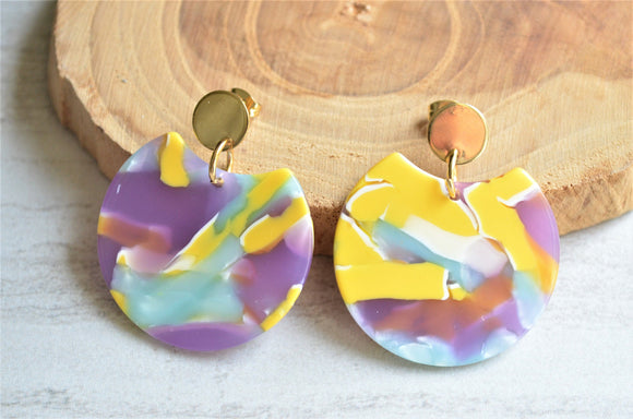 Yellow Statement Earrings, Purple Lucite Earrings,  Big Acrylic Earrings, Large Earrings, Gift For Women - Hanna