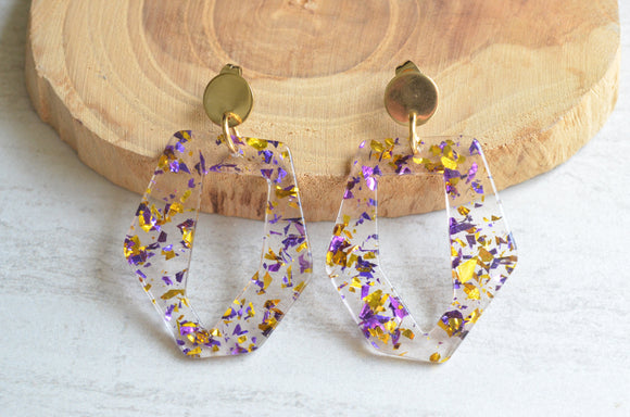 Purple Statement Earrings, Mardi Gras Earrings,  Acrylic Earrings, Lucite Big Earrings, Gift For Her - Mia