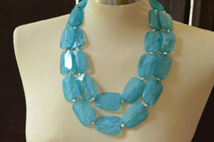 Blue Statement Necklace, Lucite Bead Necklace, Acrylic Necklace, Chunky Necklace, Gift For Woman - Jane