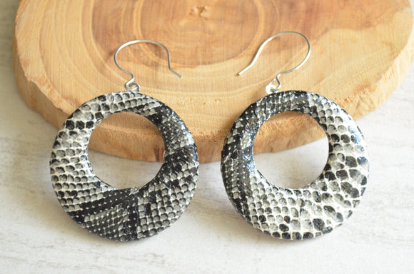 Animal Print Statement Earrings Hoop Snake Print Earrings Leather Earrings - Gifts For Women