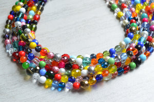 Multi Color Necklace, Statement Necklace, Colorful Necklace, Glass Bead Necklace, Gift For Woman  - Fiesta