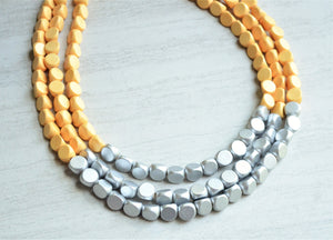 Yellow Statement Necklace, Silver Bead Necklace, Wood Necklace, Wooden Necklace, Gift For Her, Bridesmaid Gift - Lisa