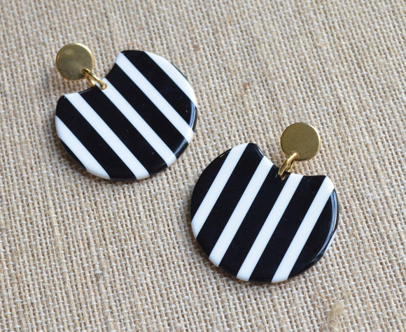 Black White Statement Earrings Striped Lucite Earrings Big Acrylic Earrings Gifts For Her - Hanna