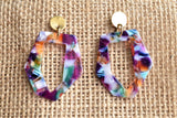 Multi Color Statement Earrings Resin Lucite Earrings Gifts For Her - Mia