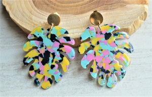 Statement Earrings, Colorful Earrings, Palm Leaf, Acrylic Earrings, Tropical Jewelry, Gift For Her - Tropicana
