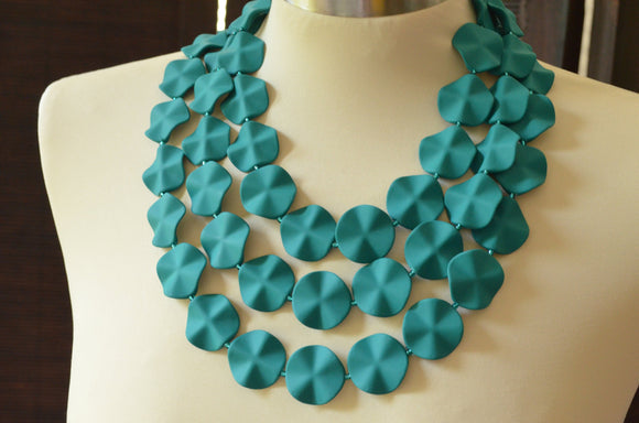 Teal Green Statement Necklace Rubber Matte Beaded Necklace Chunky Necklace Gifts For Her - Charlotte