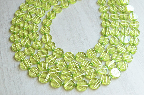 Green Statement Necklace Beaded Multi Strand Necklace Chunky Acrylic Necklace - Charlotte