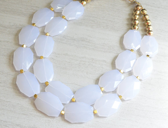 White Acrylic Statement Necklace Gold Beaded Chunky Necklace Gifts For Her - Ruby
