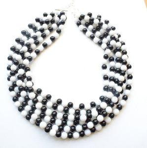 Black White Statement Necklace Beaded Multi Strand Necklace Gifts For Women - Michelle