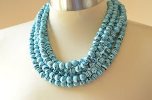 Light Blue Statement Necklace Rubber Beaded Necklace Chunky Multi Strand Necklace Gifts For Women - Alana