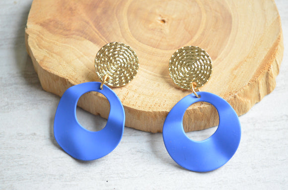 Blue Gold Statement Earrings Lucite Matte Earrings Big Acrylic Hoop Earrings - Lynn