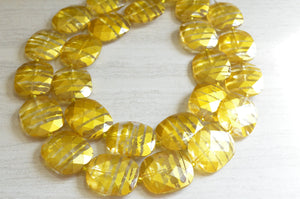 Yellow Statement Necklace Acrylic Beaded Necklace Chunky Multi Strand Necklace Gifts For Women - Amber