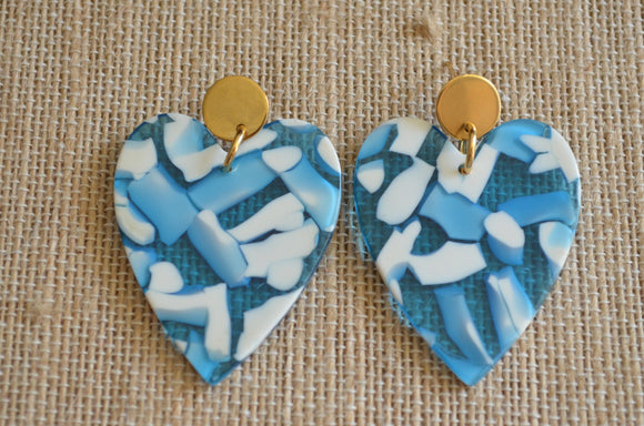 Blue Statement Earrings, Heart Earrings, White Earrings, Lucite Big Earrings, Gift For Her