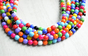 Multi Color Statement Necklace Beaded Glass Necklace Chunky Multi Strand Necklace - Michelle