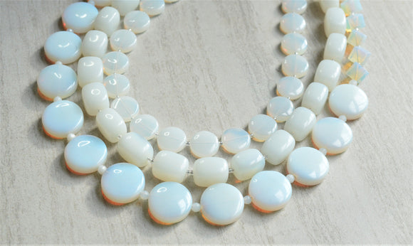 White Statement Necklace Sea Opal Glass Necklace Beaded Multi Strand Necklace Chunky Necklace - Warhol