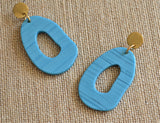 Turquoise Gold Statement Earrings Large Blue Earrings Lucite Big Earrings Gifts For Her - Sylvia