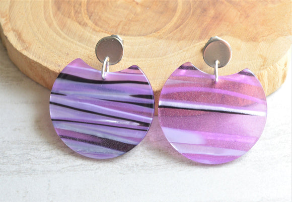 Purple Black Statement Earrings Lucite Big Post Earrings Acrylic Earrings Gifts For Women - Hanna