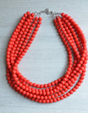 Red Statement Necklace Bead Rubber Necklace Matte Chunky Necklace Gift For Woman - Michelle