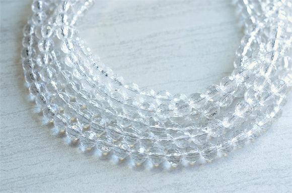 Clear Statement Necklace Beaded Acrylic Chunky Necklace Lucite Multi Strand Gifts For Her - Angelina