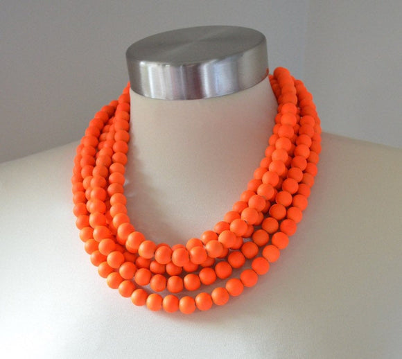 Neon Orange Statement Necklace Rubber Beaded Necklace - Alana