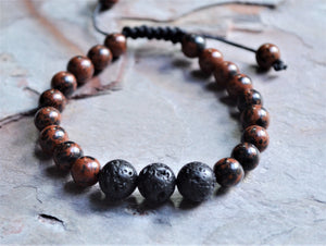 Mens Jasper Shamballa Bracelet Lava Rock Mens Jewelry Adjustable Stone Bracelet Beaded Bracelet Mens Gifts - Conor