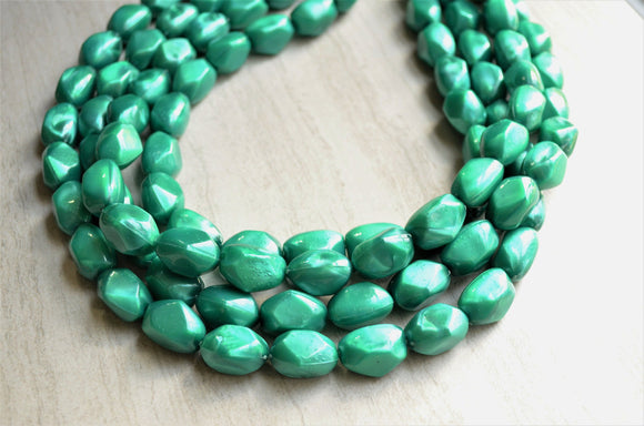 Teal Green Necklace, Statement Necklace, Lucite Necklace, Chunky Jewelry, Acrylic Necklace, Gift For Her - Penelope