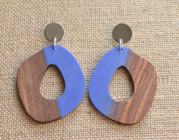 Blue Lucite Wood Statement Earrings Big Acrylic Earrings Large Earrings Gifts For Women - Meyer