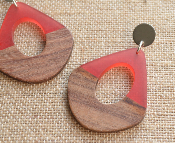 Red Lucite Wood Statement Earrings Big Acrylic Earrings Hoop Earrings Gift For Women - Veronique