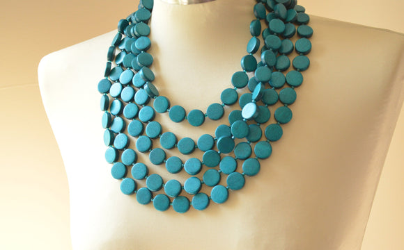 Teal Statement Necklace Wood Beaded Necklace Multi Strand Wooden Necklace Gifts For Women - Charlotte