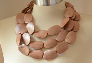 Brown Statement Necklace Beaded Wood Necklace Multi Strand Chunky Necklace Gifts For Her - Miranda