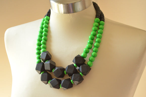 Green Black Statement Necklace Wood Beaded Necklace Multi Strand Chunky Necklace - Riley