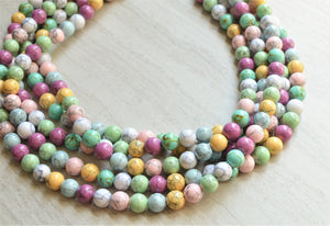 Multi Color Necklace, Statement Necklace, Beaded Necklace, Pastel Necklace, Chunky Necklace, Gift For Her - Alana