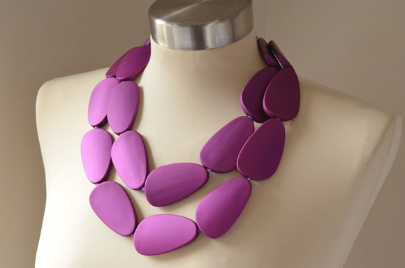 Purple Statement Necklace Beaded Rubber Necklace Gifts For Women - Miranda