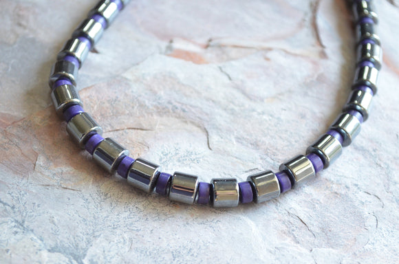 Purple Mens Necklace, Beaded Hematite Necklace, Stone Necklace, Man Necklace, Gift For Men - Samson