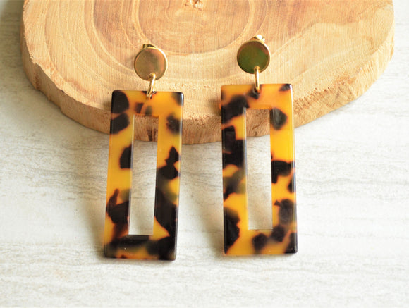 Tortoise Shell Statement Earrings Big Lucite Earrings Acrylic Large Earrings Gifts For Her - Louise