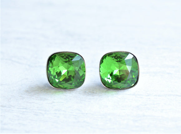 Green Stud Earrings Swarovski Crystal Post Earrings Bridesmaid Gifts - Scarlett