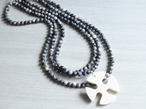 Black Gray Statement Necklace Long Beaded Necklace Cross Pendant Necklace Gifts For Women