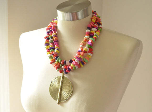 Multi Color Statement Necklace Gold Pendant Necklace Beaded Colorful Necklace Chunky Necklace for Women