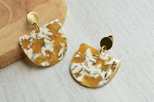 Yellow White Statement Earrings Lucite Big Earrings Terrazzo Large Earrings Gift For Her - Nora