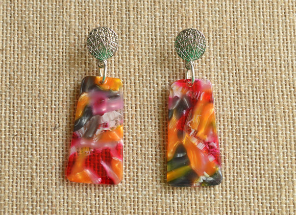 Red Orange Statement Earrings Resin Lucite Earrings Acrylic Gold Earrings Gifts For Her - Nevaeh