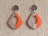 Orange Lucite Wood Statement Earrings Big Acrylic Earrings Hoop Earrings Gifts For Women - Veronique