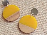 Blue Statement Earrings Lucite Wood Earrings Big Acrylic Earrings Gifts For Women - Orville