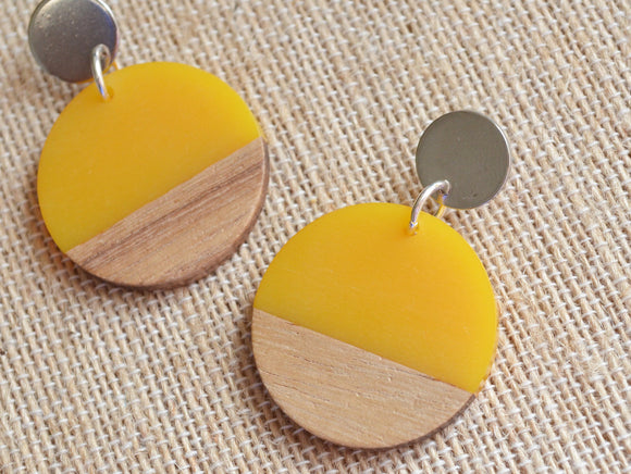 Yellow Lucite Wood Statement Earrings Big Acrylic Earrings Large Earrings Gifts For Women - Orville