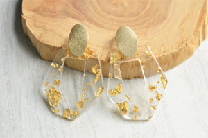 Clear Gold Statement Earrings Big Lucite Earrings Large Acrylic Earrings Gifts For Her - Mia