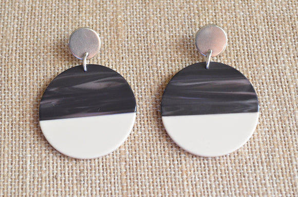 Dark Gray White Statement Earrings Big Lucite Earrings Large Acrylic Earrings Gifts For Women - Orville