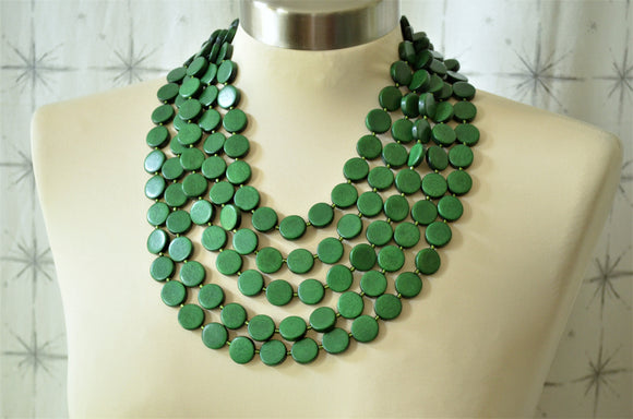 Dark Green Statement Necklace Wood Beaded Necklace Multi Strand Wooden Necklace Gifts For Women - Charlotte