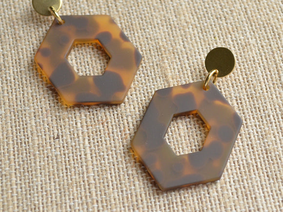 Tortoise Shell Statement Earrings Big Lucite Earrings Acrylic Large Earrings Gifts For Her - Deanne
