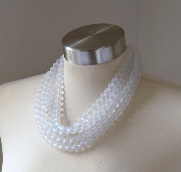 White Statement Necklace Matte Beaded Necklace Chunky Frosted Glass Necklace Gifts For Her - Alana