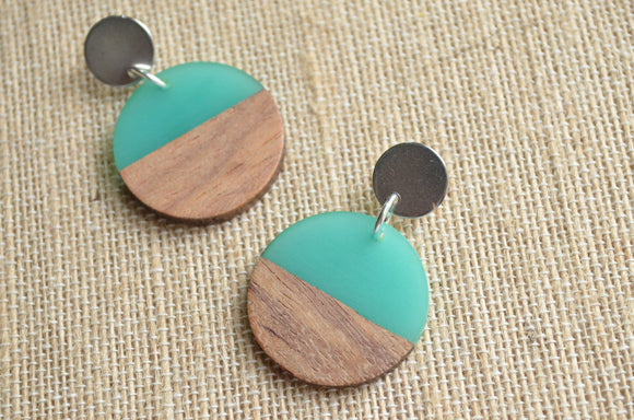 Turquoise Green Lucite Wood Statement Earrings Big Acrylic Earrings Large Earrings Gifts For Women - Orville